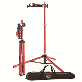 bicycle repair stand folded, set up, and in bag