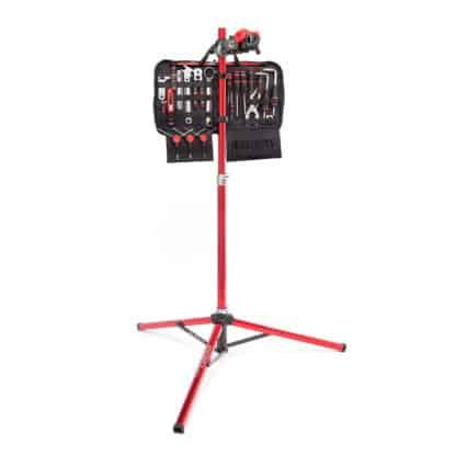 tool kit hanging from bicycle repair stand