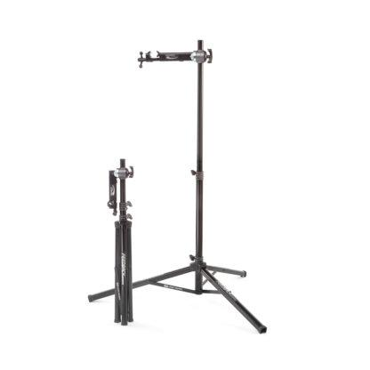 bicycle repair stand side by side folded up and extended