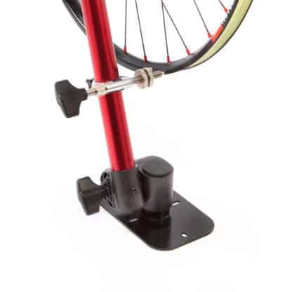 bicycle wheel in repair stand