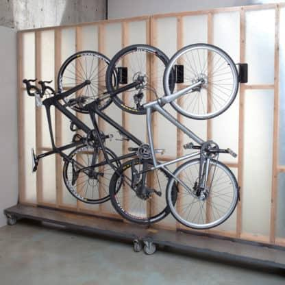 bikes hanging on wall