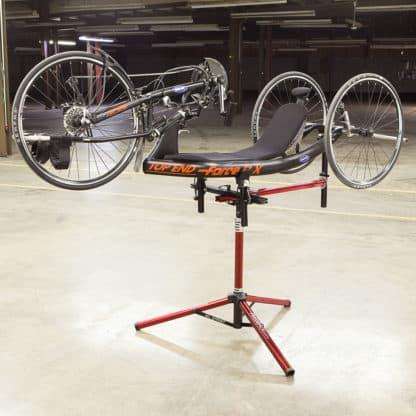 hand tricycle on repair stand