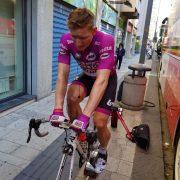 Andrès Greipel cooling down on the Omnium portable trainer after the Giro.