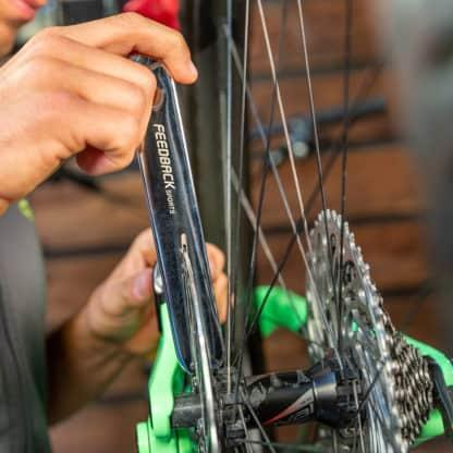 rotor truing fork in use
