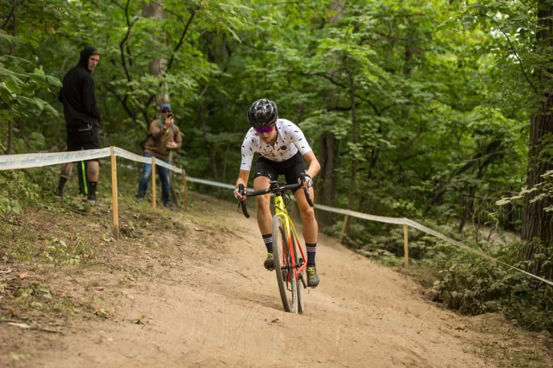 cyclist racing on dirt