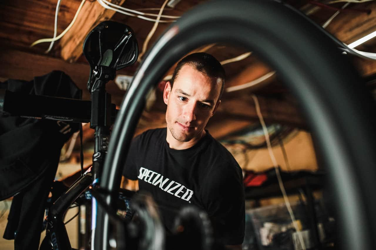 mechanic working on bike