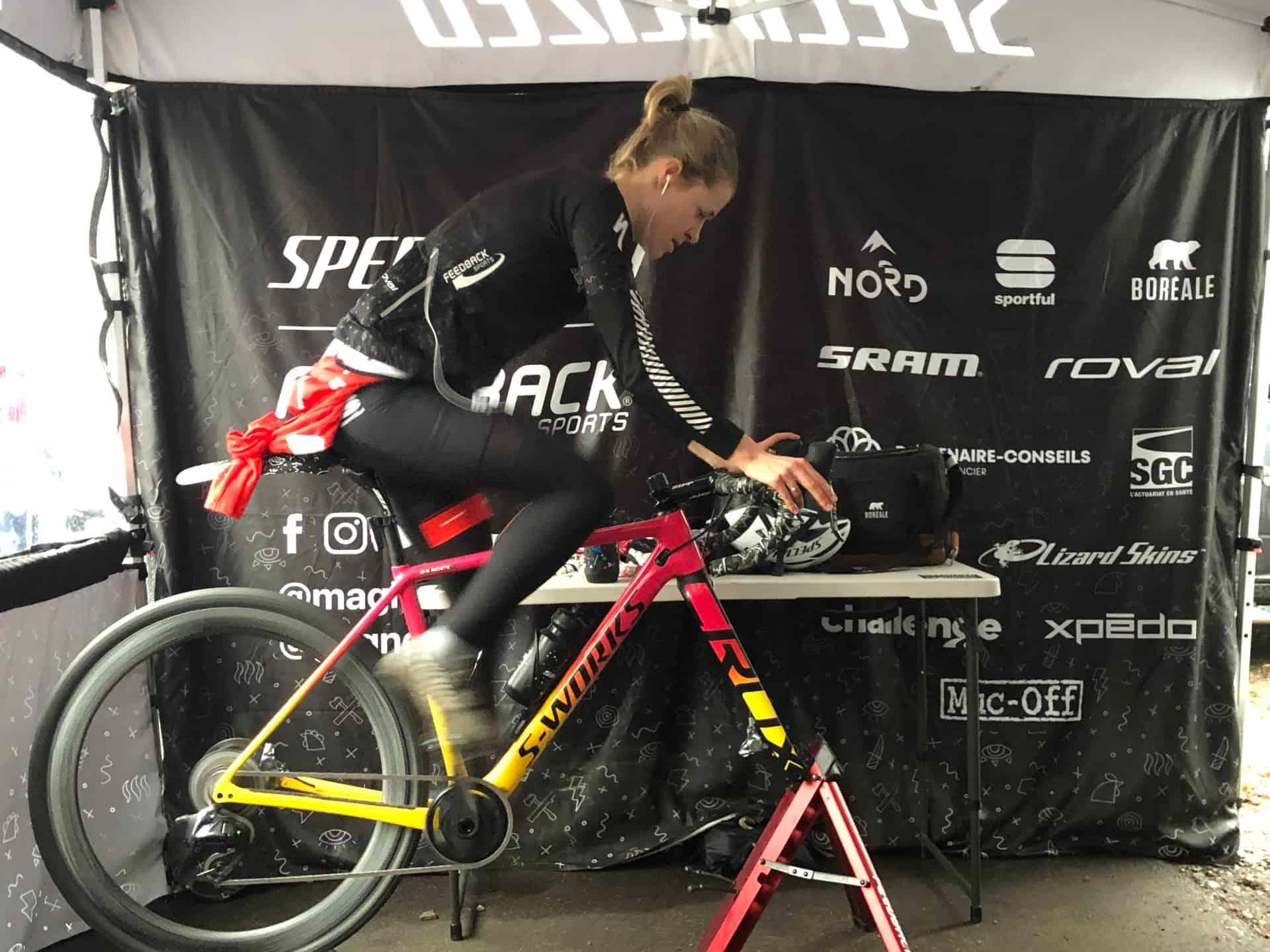 cyclist riding stationary trainer